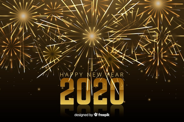Sparkling fireworks for new year 2020 event Free Vector