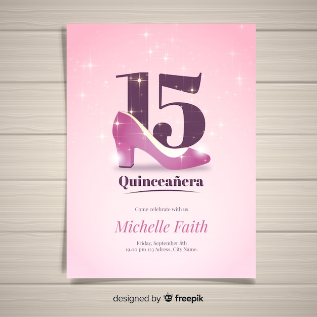 Sparkling heel quinceanera card template Free Vector