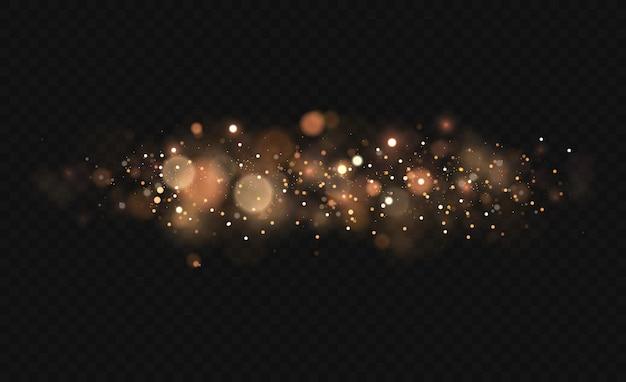 반짝이는 마법 먼지 입자. 빛의 보케 효과는 투명한 배경에서 분리됩니다. 노란 먼지 노란 불꽃과 황금빛 별이 특별한 빛으로 빛납니다. 프리미엄 벡터