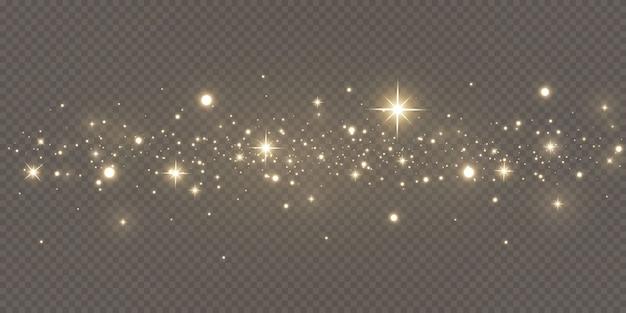 輝く魔法の粉。テクスチャの黒と白の背景。黄金のきらびやかなダスト粒子で作られたお祝いの抽象的な背景。魔法の効果。金色の星。お祭り。 Premiumベクター