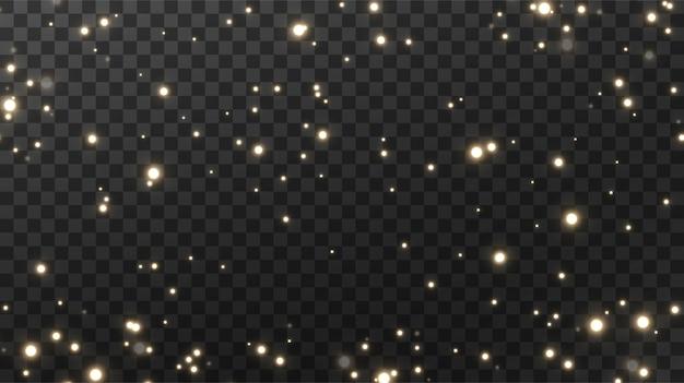 Sparkling magical dust textural black background. Premium Vector