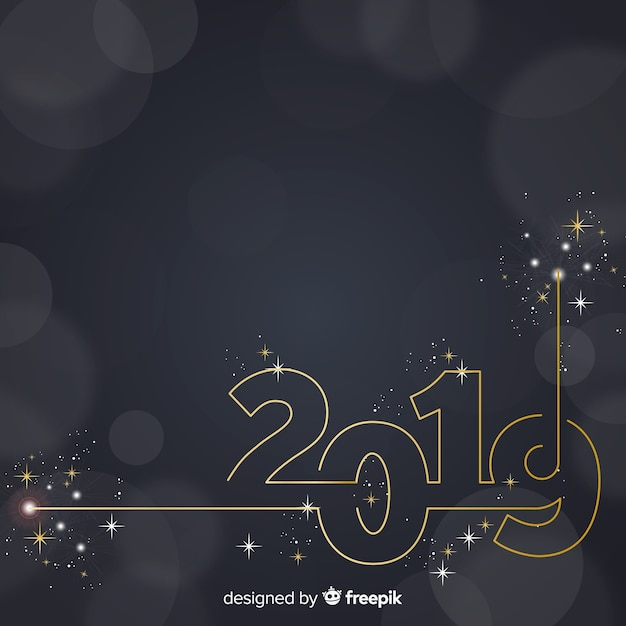 Sparkling number new year background Free Vector