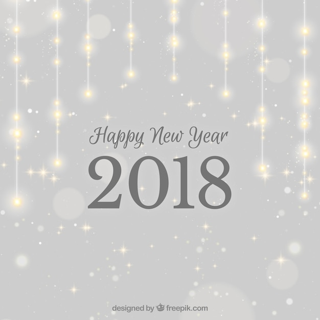 sparkling silver new year 2018 background free vector