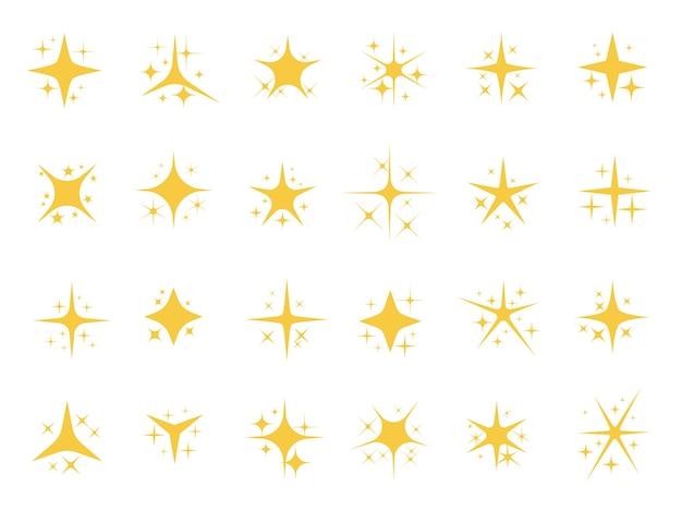 반짝이는 별. 반짝이는 스파크, 반짝이는 라이트 스타 및 스파클 요소 무료 벡터