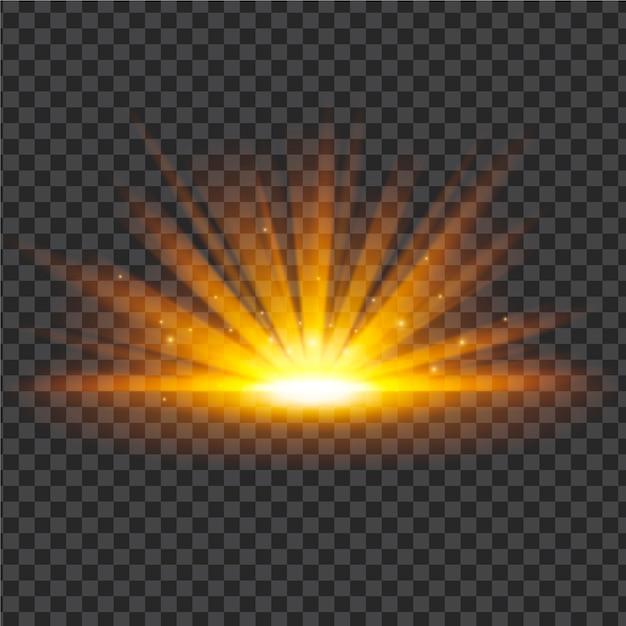 Сверкающий световой эффект восхода солнца Premium векторы