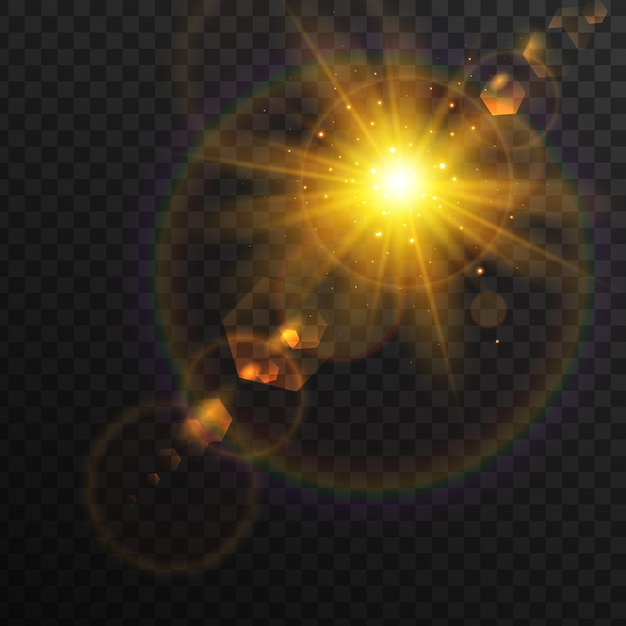 Sparkling sunrise light effect Free Vector