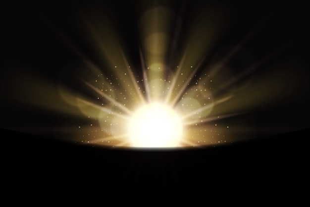 Sparkling white sunrise light effect Free Vector