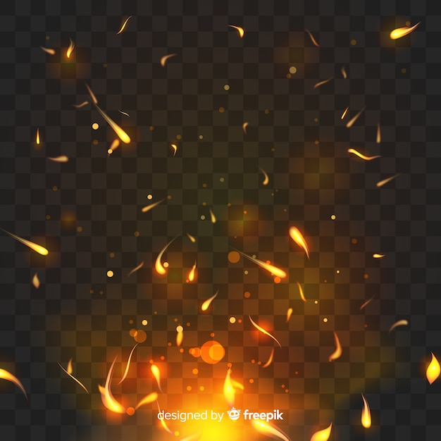 Sparkly fire effect with transparent background Premium Vector