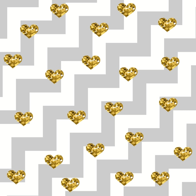 Sparkly glam golden hearts on a diagonal zigzag pattern Premium Vector