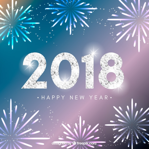 sparkly new year background with fireworks free vector