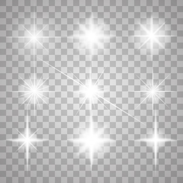 Sparks isolated. vector glowing stars. lens flares and sparkles Premium Vector