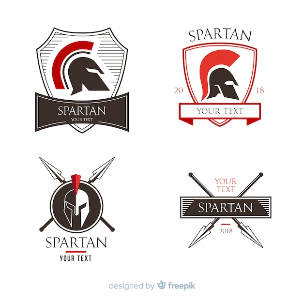 Collezione di distintivi spartani Vettore gratuito