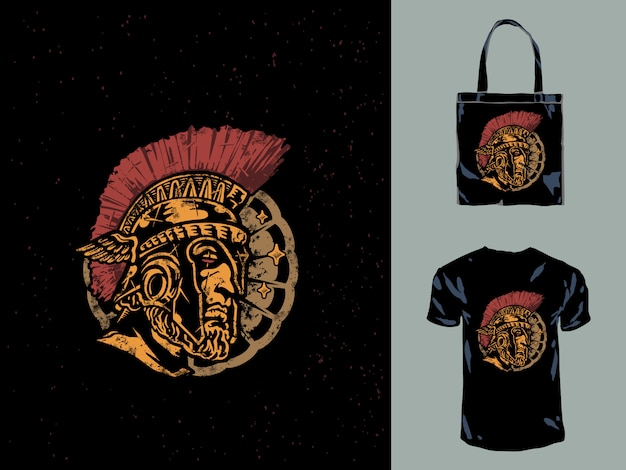 The spartan head leonidas hand drawn illustration Premium Vector