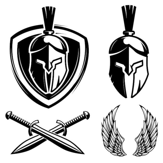 スパルタンヘルメット、シールド、剣、翼。スポーツチームのラベル、バッジ、記号の要素。図 Premiumベクター