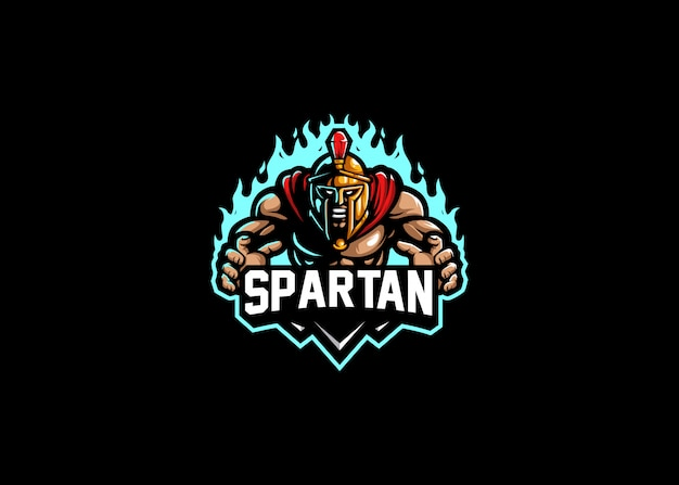 Spartan strength esport logo gaming Premium Vector