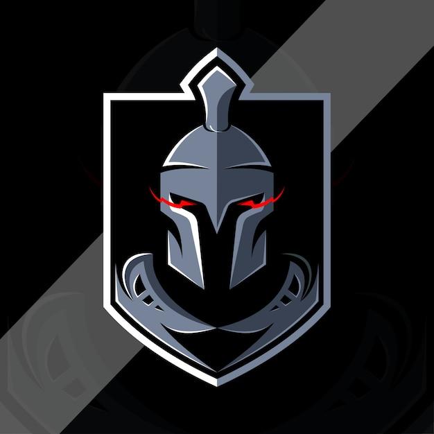 Спартанский винтажный логотип киберспорт Premium векторы