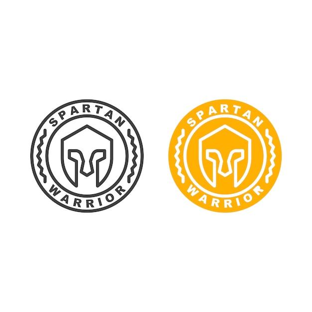 Spartan warrior helmet. icon template Premium Vector