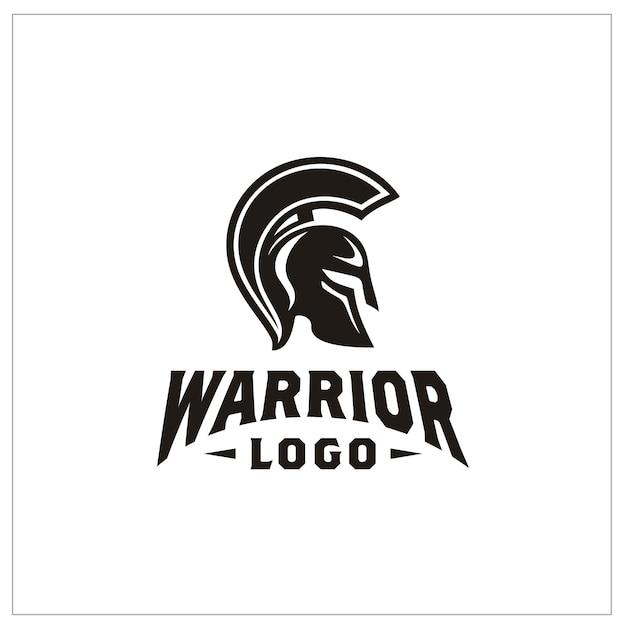 Spartan warrior helmetのロゴ Premiumベクター