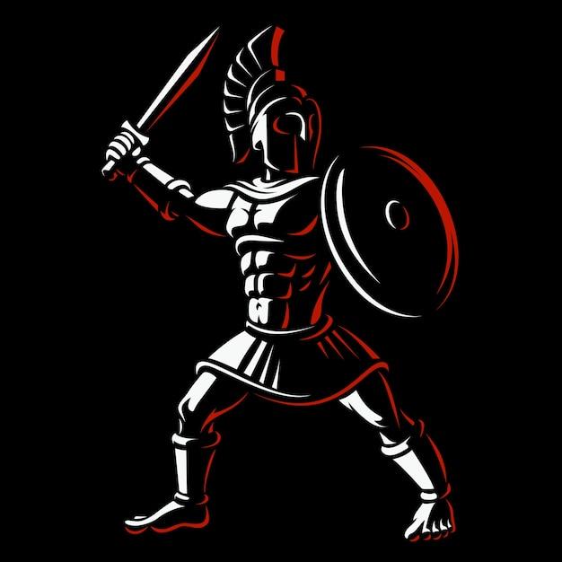 スパルタ戦士。暗い背景に剣闘士のイラスト。 Premiumベクター