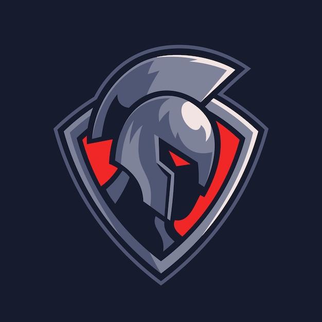 シールドスポーツロゴデザインのスパルタ戦士 Premiumベクター