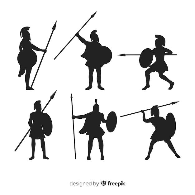 Spartan warrior silhouette collection Free Vector