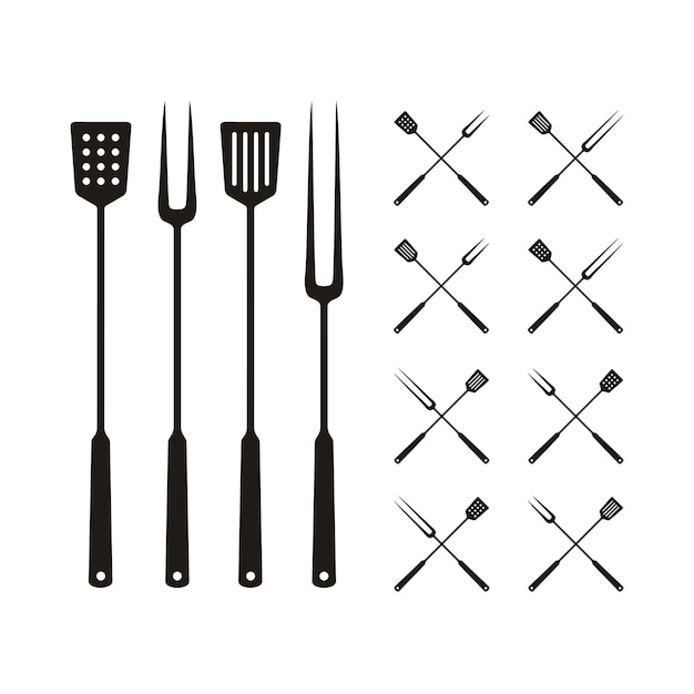 Spatula and fork for bbq grill, barbeque logo Premium Vector