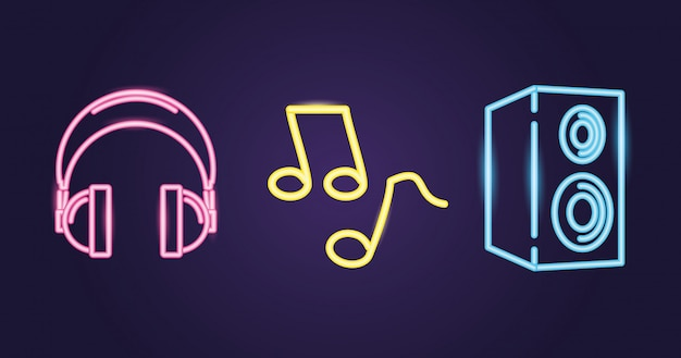 Speaker, headphones and musical note with neon style over purple Free Vector