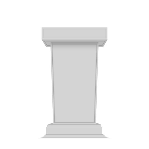 Speaker podium. white tribune rostrum stand Premium Vector