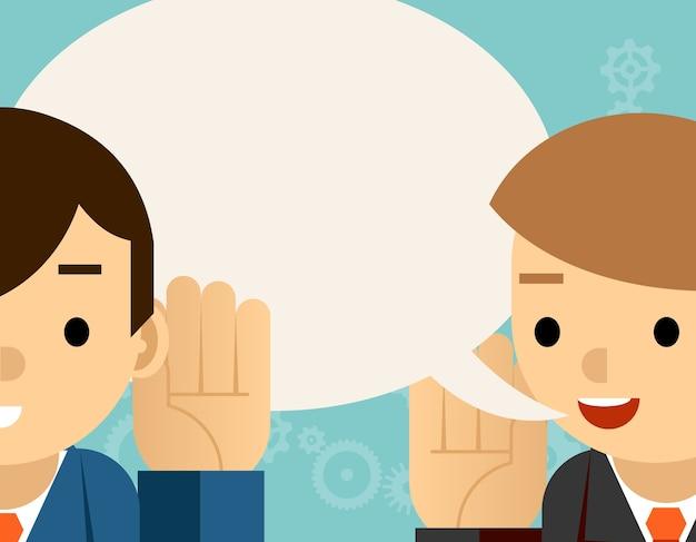 말하기와 듣기. 한 사람은 귀에 손을 잡고 다른 사람은 말합니다. 거품 정보, 청각 및 속삭임 무료 벡터