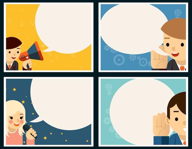 말하기 및 듣기 포스터 개념 설정합니다. 풍선 및 배너, 대화 및 대화, 연설 무료 벡터