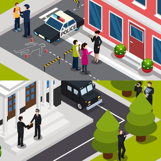 Special agent isometric banners Free Vector