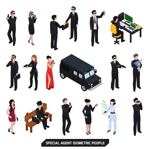 Special agent isometric people Free Vector
