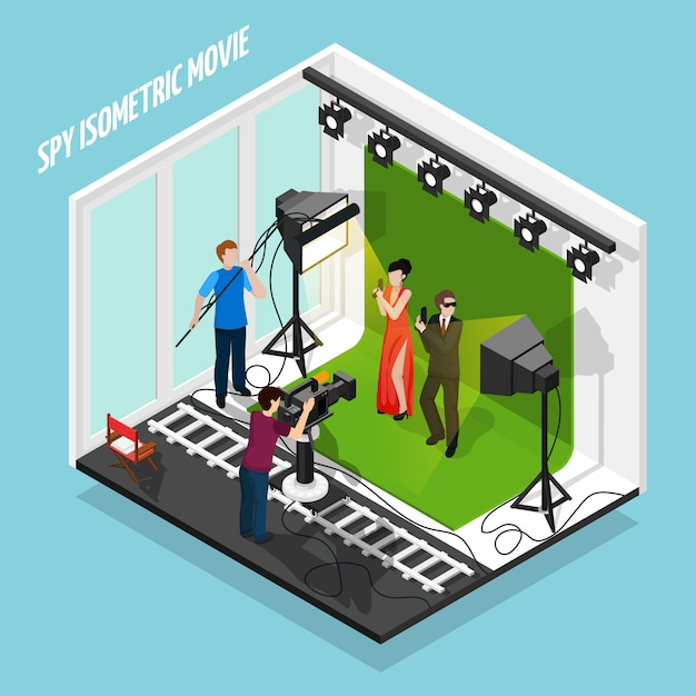 Special agents shooting movie composition Free Vector