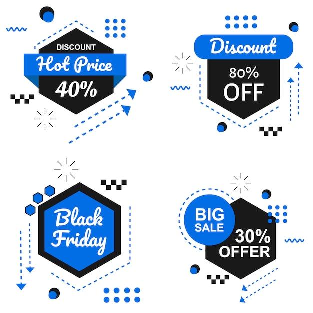 Special black friday blue banner set vector Premium Vector