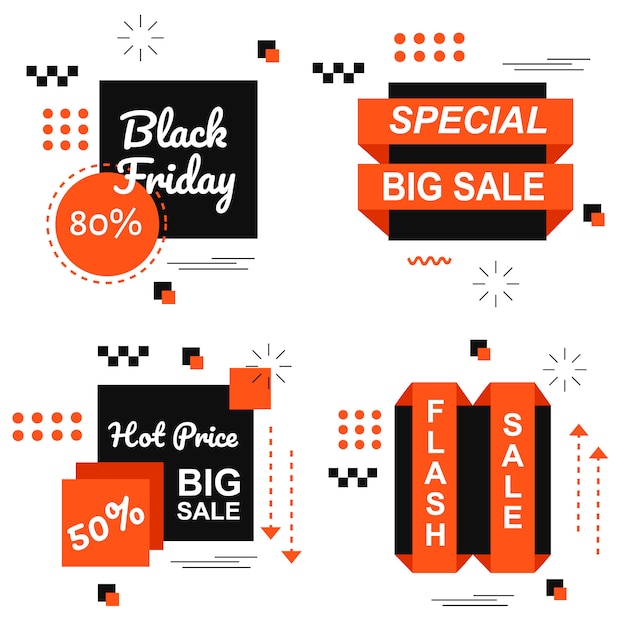 Special black friday orange banner set vector Premium Vector