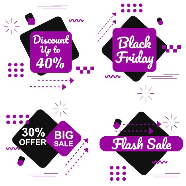 Special black friday purple banner set vector Premium Vector
