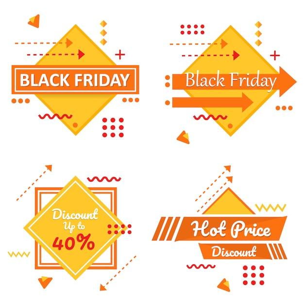 Special black friday yellow banner set vector Premium Vector