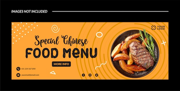 Special chinese food banner template or facebook cover Premium Vector