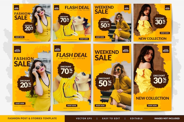 Special fashion sale social media post and stories  template yellow Premium Vector