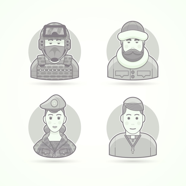 Special forces man, polar explorer, woman soldier, chursch priest. set of character, avatar and person  illustrations.  black and white outlined style. Premium Vector