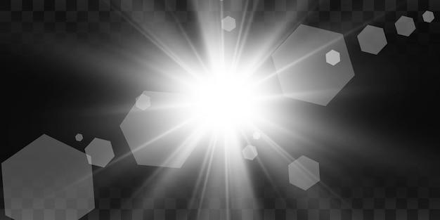 特殊レンズフラッシュ、光の効果。フラッシュは光線とサーチライトを点滅させます。 illust。白い輝く光。光線から美しい星の光。太陽は逆光です。明るく美しい星。日光。グレア。 Premiumベクター