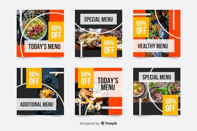 Special menu offers instagram post collection Free Vector