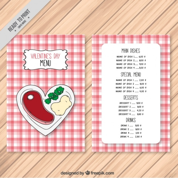 Special menu template for valentine Free Vector