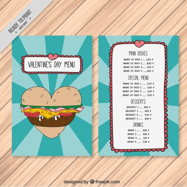 Special menu with burger of valentine Free Vector
