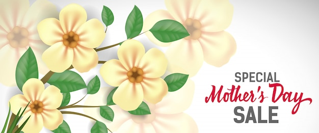 Special Mother Day Sale lettering with yellow\ flowers. Mothers Day sale advertising.