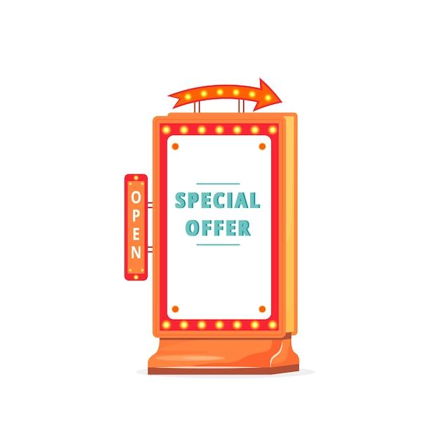 Special offer advert board sign illustration Premium Vector
