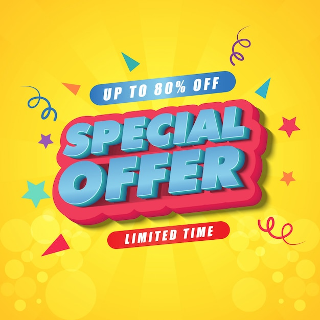 Special offer banner dersign template Premium Vector