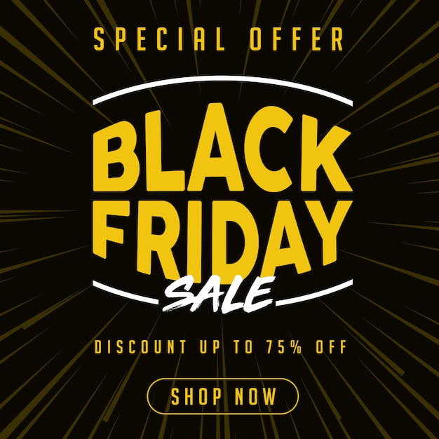 Special offer black friday sale banner in yellow Premium Vector