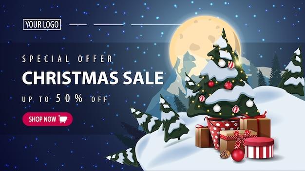 特別オファー、クリスマスセール、星空の夜、満月、惑星のシルエット、ギフト付きの鍋にクリスマスツリーが付いた水平割引ウェブバナー Premiumベクター