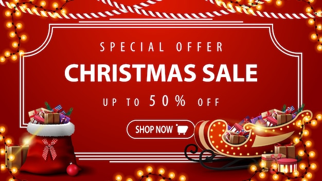 Special offer, christmas sale, modern red discount banner with vintage frame Premium Vector